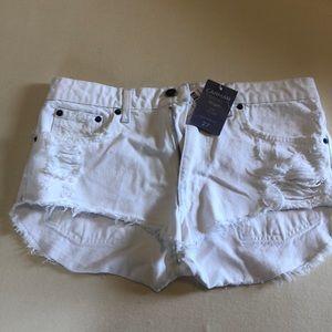 CarMar white denim cutoff shorts